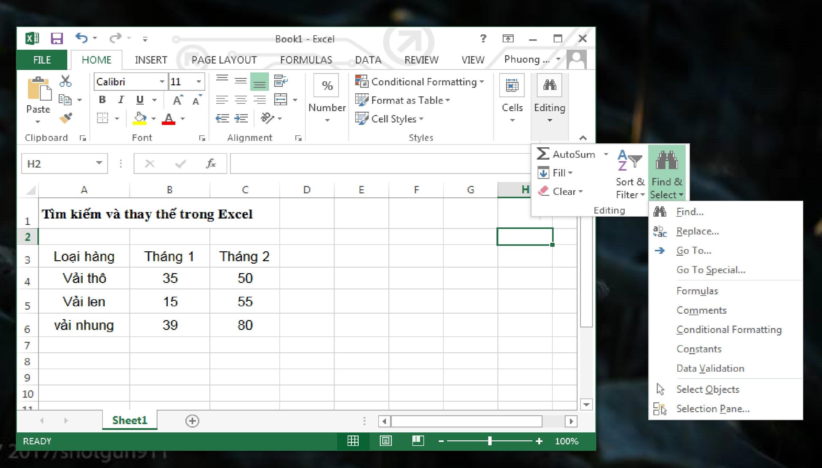 Sử dụng chức năng Find và Replace trong Excel