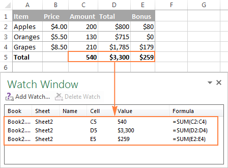Giám sát công thức trong Excel vàkết quảcủa chúng (Watch Window)