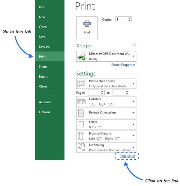 Chỉ định cài đặt tron page setup để đường lưới trong bảng tính Excel