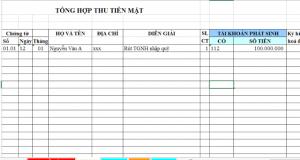 File Excel quản lý Thu chi