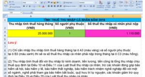 TẢI FILE EXCEL TÍNH THUẾ TNCN 2018- CHI TIẾT