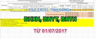 TẢI NHANH FILE EXCEL TÍNH ĐÓNG BHXH, BHYT, BHTN từ 01/7/2018