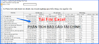Tải File Excel Phân Tích Báo Cáo Tài Chính