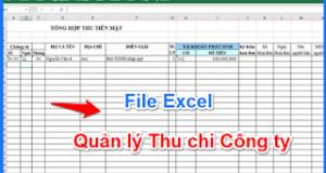 Tải File Excel Quản lý Thu chi Công ty